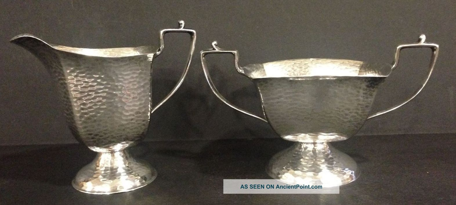 Arts And Crafts Hammered Silver Plate On Nickel Silver Cream And Sugar Creamers & Sugar Bowls photo