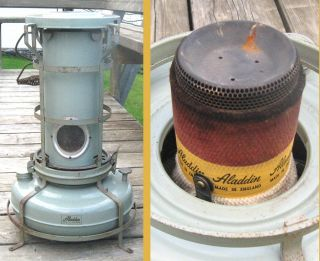 Vintage 1960 Aladdin Blue Flame Heater In England With It Wick No.  F.  150051 photo