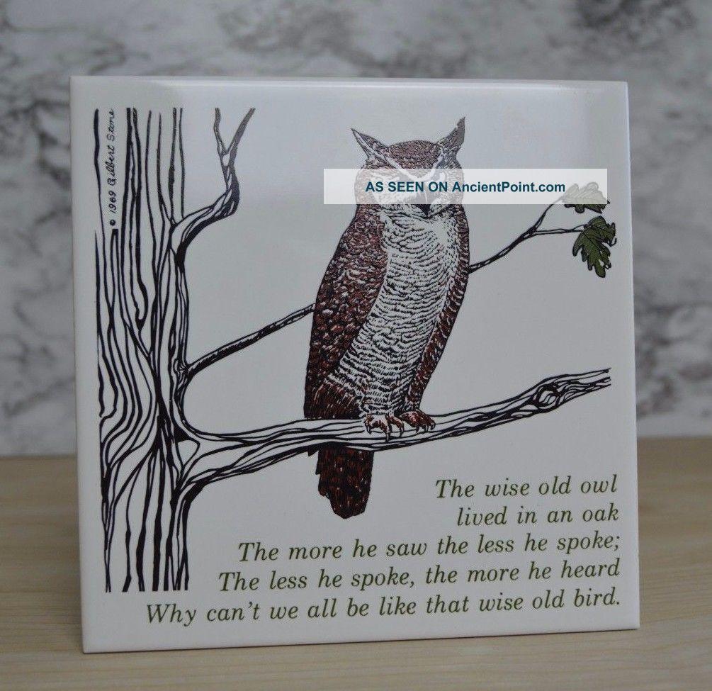Gilbert Stone 1979 Wise Old Owl In Tree Ceramic Trivet Tile Cork Vtg Owl Decor Trivets photo
