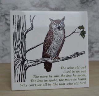Gilbert Stone 1979 Wise Old Owl In Tree Ceramic Trivet Tile Cork Vtg Owl Decor photo