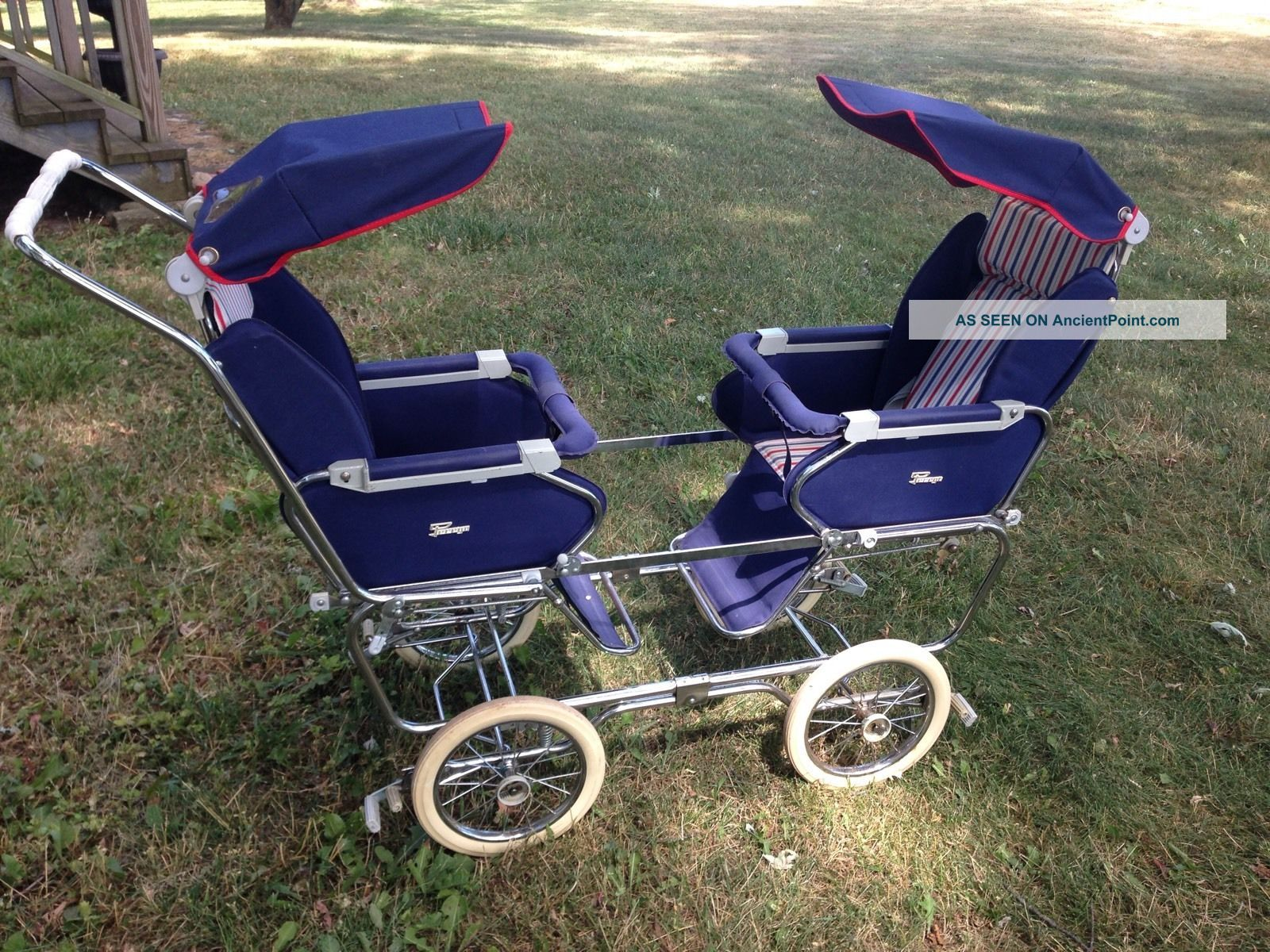 Vintage 1950s Italian Peg Perego Double Twin Stroller Italy Mid Century Pram Old Baby Carriages & Buggies photo