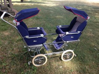 Vintage 1950s Italian Peg Perego Double Twin Stroller Italy Mid Century Pram Old photo