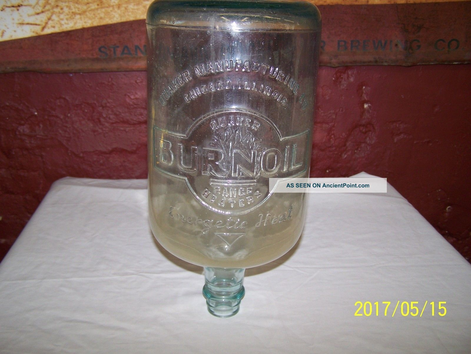 Vintage Quaker Manufacturing Range Heater Burnoil Kerosene Glass Jug / Bottle Stoves photo