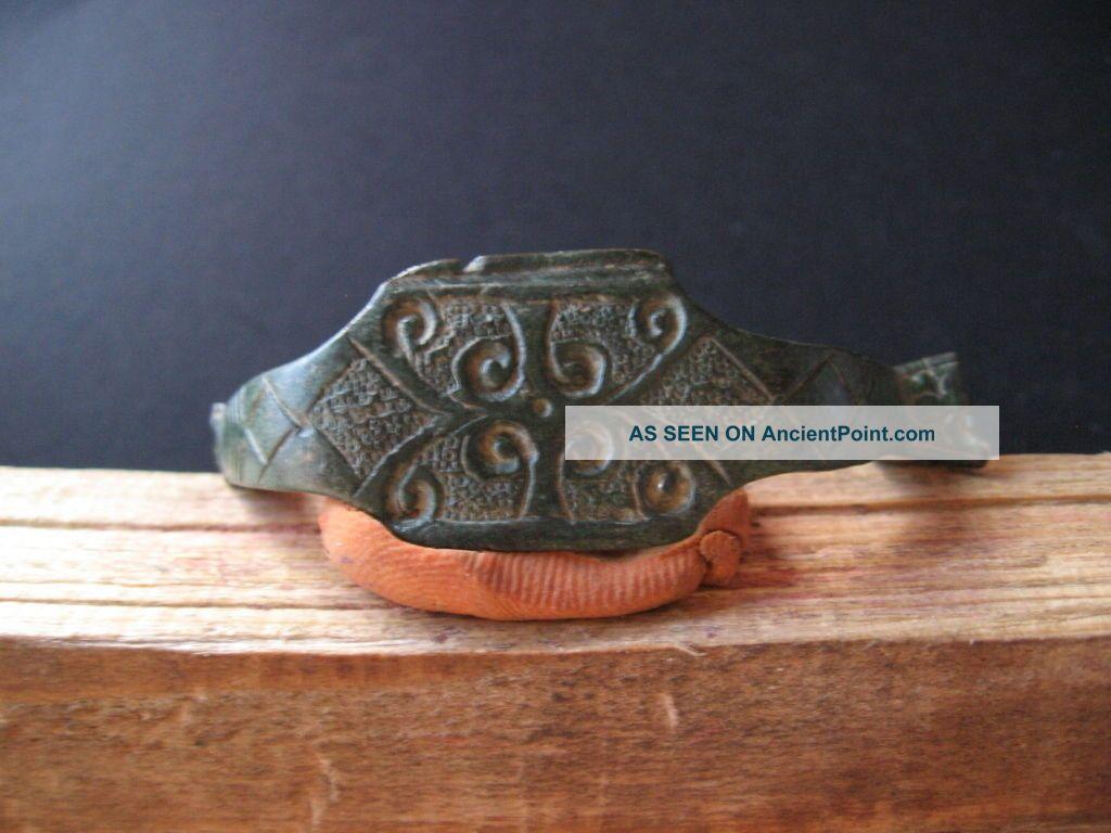 Engraved Handle Ancient Celtic Engraved Bronze Artifact 400 - 200 B.  C. Celtic photo