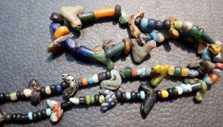 Ancient Roman Bird Mosaic Glass Colorful Assorted Phoenician Glass Bead Necklace photo