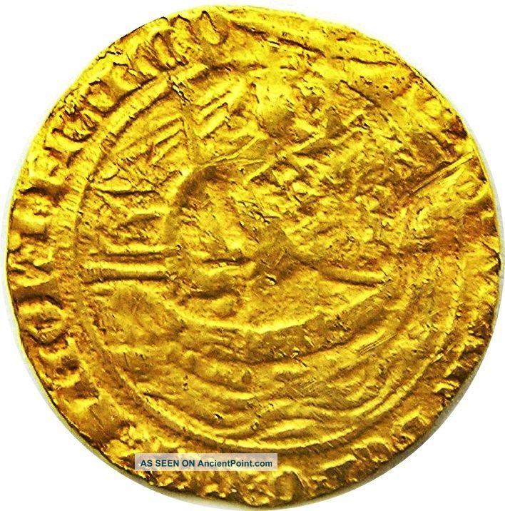 Medieval Gold Half Noble Of King Edward Iii Pre - Treaty Period 1351 - 1361 A.  D British photo