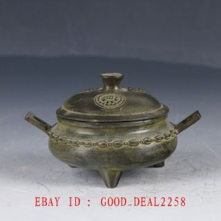 Old Bronze Hand Made Hollow Incense Burner With Ming Dynasty Xuande Mark photo