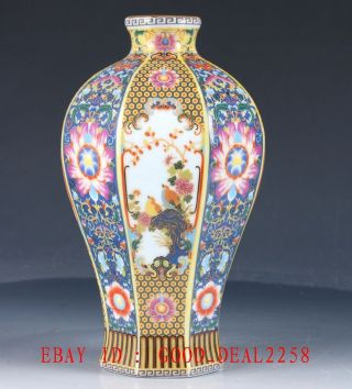China Cloisonne Porcelain Hand Painted Porcelain Vase W Yongzheng Mark photo