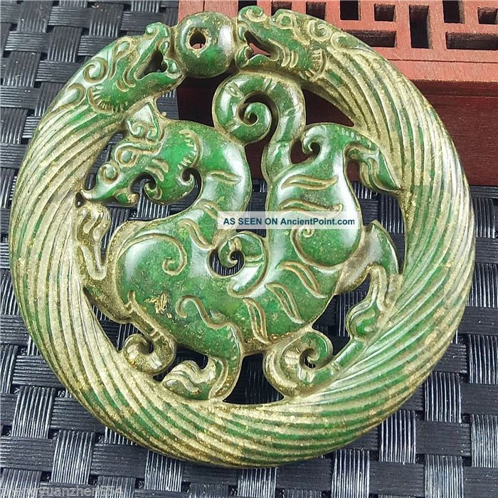 Old Chinese Hand Carved Jade Amulet Necklace Pendant Decoration Antique18 Necklaces & Pendants photo