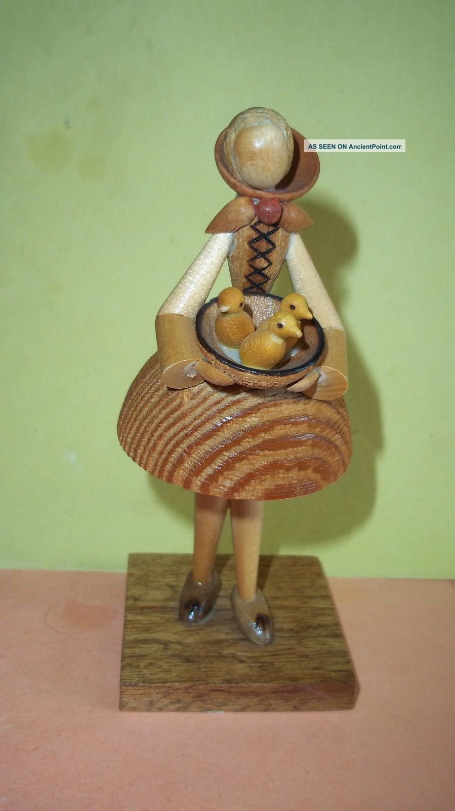 Wooden Carved Girl Holding Bowl Of Ducks - Made In Poland By Sitarski,  Fedorowicz Carved Figures photo