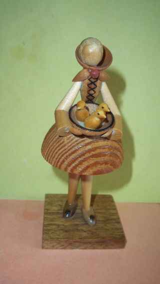 Wooden Carved Girl Holding Bowl Of Ducks - Made In Poland By Sitarski,  Fedorowicz photo