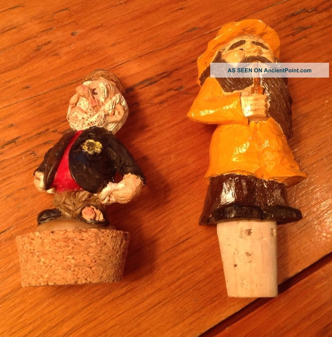 2 Folk Art Hand Carved Bottle Cork Fisherman Signed Tunturi And ? Resin Bum Carved Figures photo