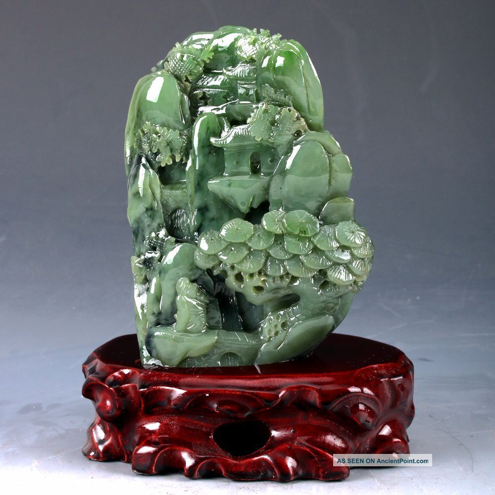 100 Natural Green Hetian Jade Handwork Carved Pine Tree & Old Man Statue Dy101 Figurines & Statues photo