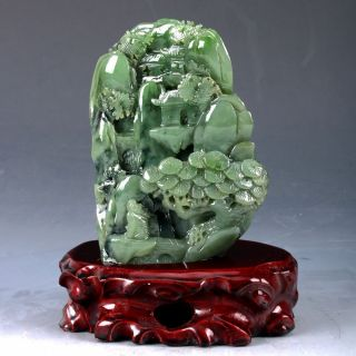 100 Natural Green Hetian Jade Handwork Carved Pine Tree & Old Man Statue Dy101 photo