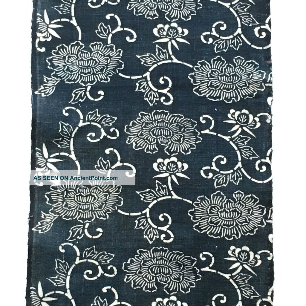 Japanese Antique Katazome Indigo Japane Blue Cotton Textile 061410 Kimonos & Textiles photo