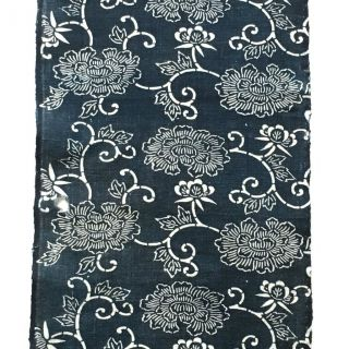 Japanese Antique Katazome Indigo Japane Blue Cotton Textile 061410 photo
