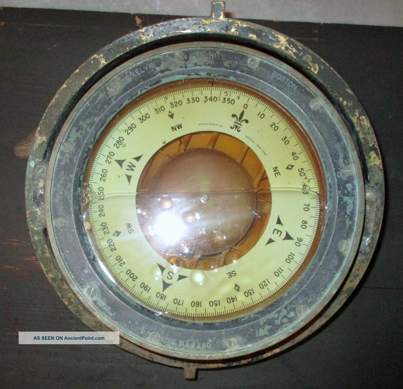 Vintage Bronze Kelvin & Wilfred O White Of Boston Naval Ship ' S Compass. Compasses photo