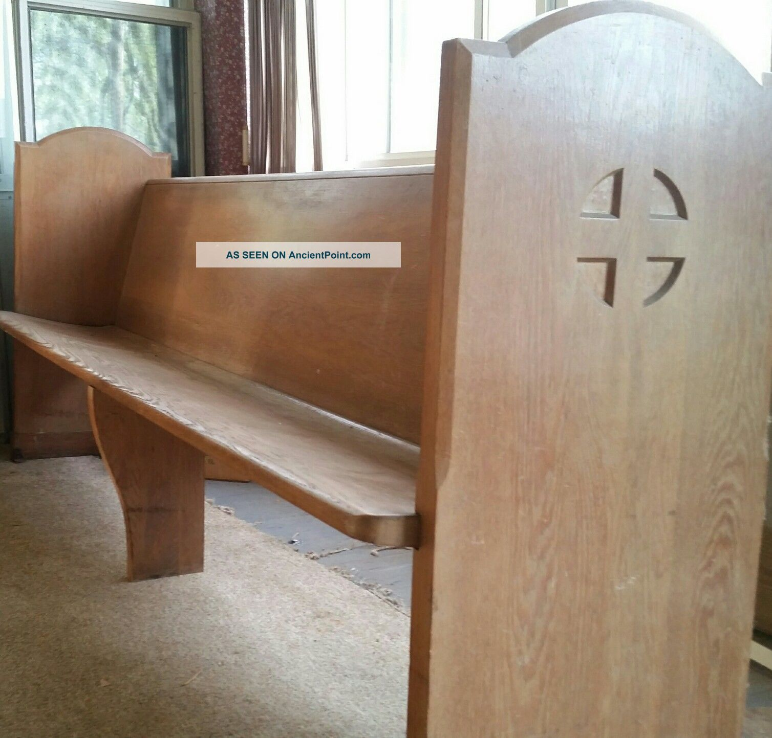 Vintage 7 ' Church Pew Bench Wood Oak 1900-1950 photo