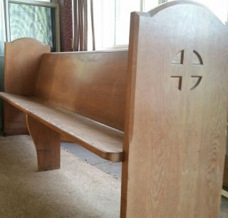 Vintage 7 ' Church Pew Bench Wood Oak photo