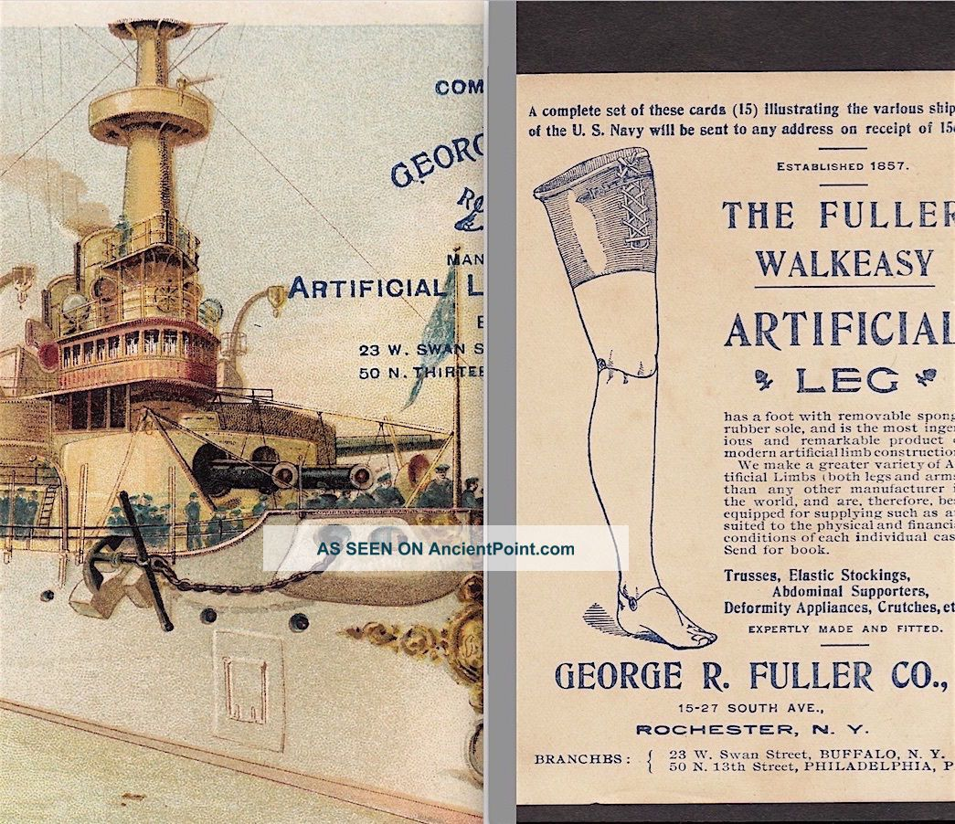 Uss Battleship Indiana Navy War Ship 1898 © Fuller Artifical Leg Medical Ad Card Other Antique Science, Medical photo