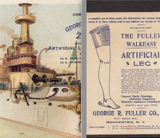 Uss Battleship Indiana Navy War Ship 1898 © Fuller Artifical Leg Medical Ad Card photo
