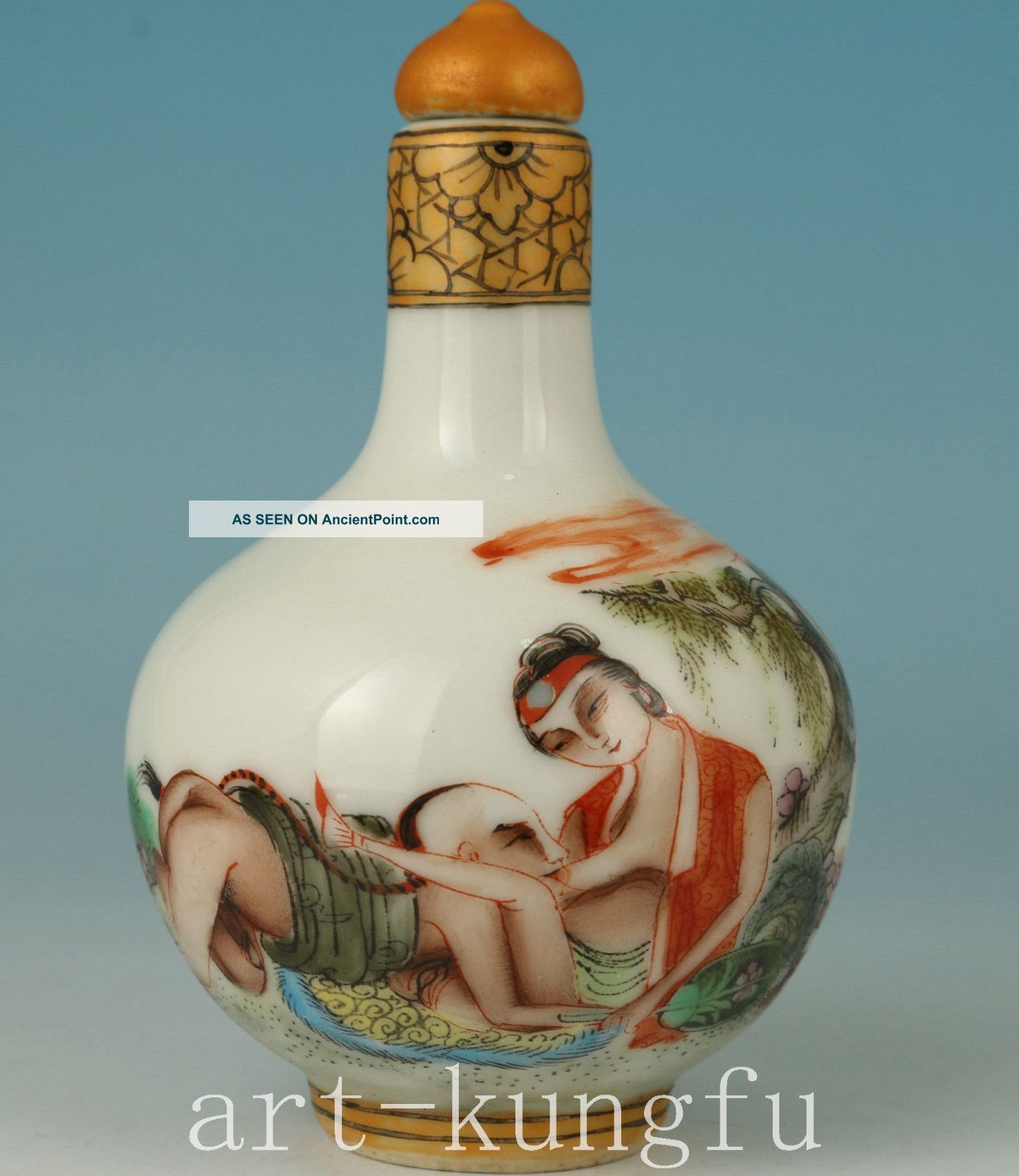 Chinese Jingdezhen Porcelain Hand Painting Hug Belle Statue Snuff Bottle Snuff Bottles photo