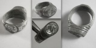 Heavy Medieval Saxon Knights Crusader Silver Signet Ring With Mystical Animal photo