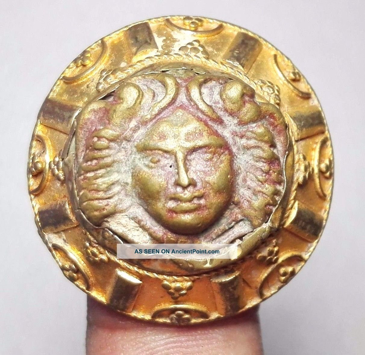 Antique Gold Gilding Ancient Bronze Face Ring 9 Size Near Eastern photo
