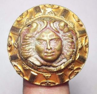 Antique Gold Gilding Ancient Bronze Face Ring 9 Size photo