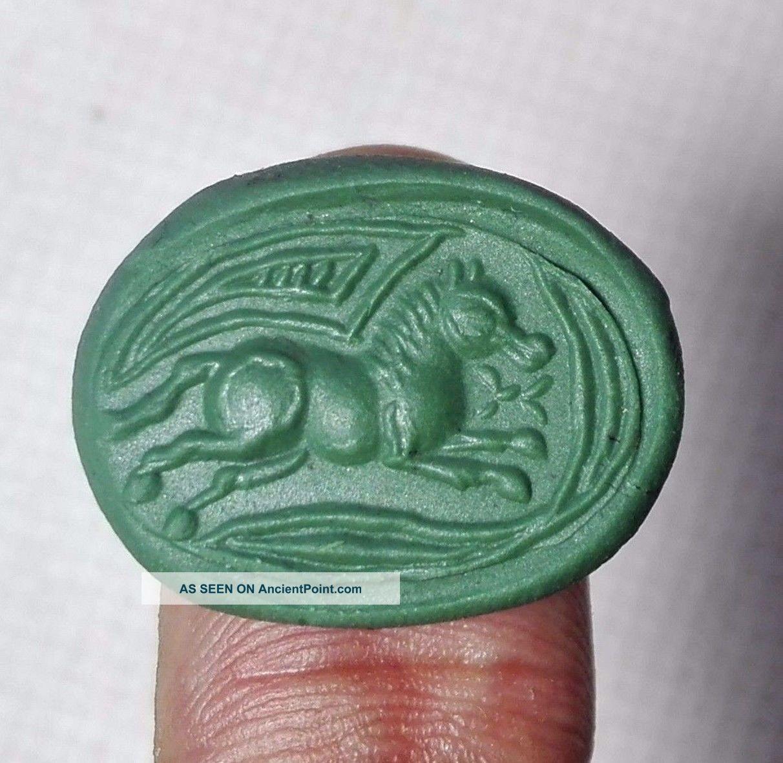 Wonderful Lapiz Intaglio Horse Stone Seal Bronze Ring 9 Size Near Eastern photo