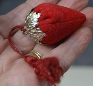 Strawberry Emery Pin Cushion Sterling Silver Top Tassel Velvet Antique photo