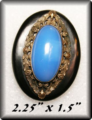 Antique Huge Stunning Bakelite Cape Coat Button W Periwinkle Blue Glass Stone photo