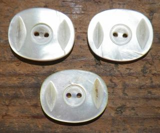 3 Mother Of Pearl Buttons Oval Carved Iridescent Victorian Antique 21 photo