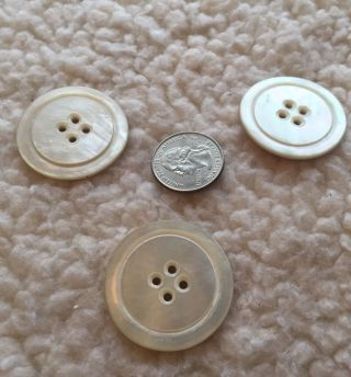 Three Antique Mother Of Pearl White Buttons photo