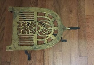 Vintage Wrought Iron And Brass Fireplace Fender Trivet Pot Kettle Warming Stand photo