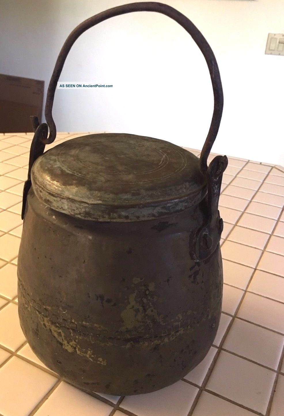 Antique Primitive Hand Forged Ash Can Pail Bucket With Lid And Handle - Unique Hearth Ware photo