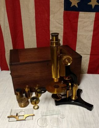 Antique 1890 James W.  Queen Jewelers Microscope Brass W/ Extra Lenses & Box photo