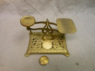 Antique Victorian Brass Postage Scale 1 - 3 Oz photo