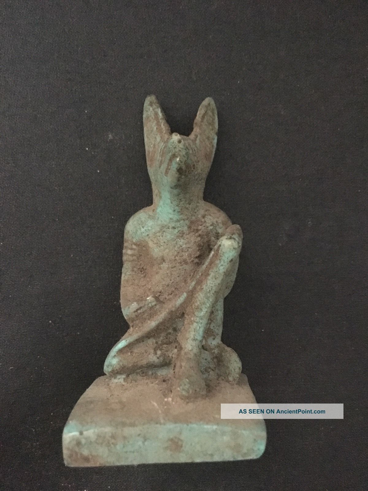 Rare Ancient Egyptian Faience Amulet Anubis 30th Dyn 380 Bc Egyptian photo