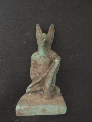 Rare Ancient Egyptian Faience Amulet Anubis 30th Dyn 380 Bc photo