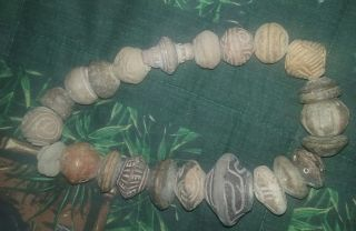 Ancient Pre Columbian Strand Of 23 Large Pottery Beads - Ecuador photo