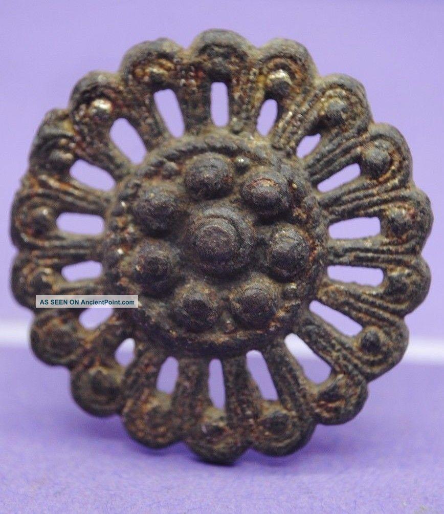 Selection Of Three Medieval Bronze Mounts 13th - 14th Century Ad British photo