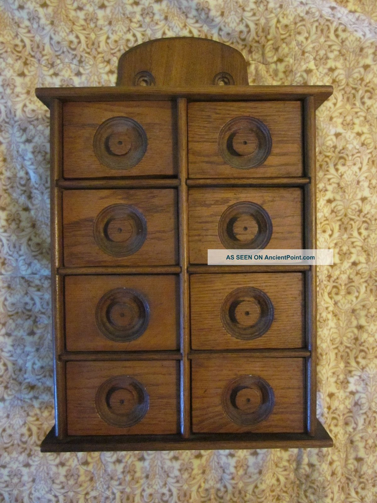 Vintage Wood Spice Apothecary Cabinet Wall Mount 8 Drawers Primitives photo