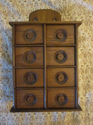 Vintage Wood Spice Apothecary Cabinet Wall Mount 8 Drawers photo