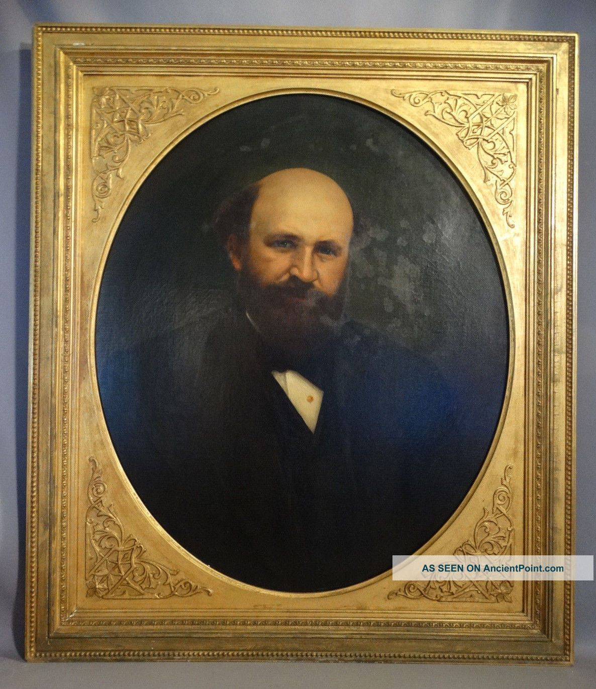 Antique 19thc Victorian Gentleman Oil Portrait Painting Carved Wood Floral Frame Primitives photo