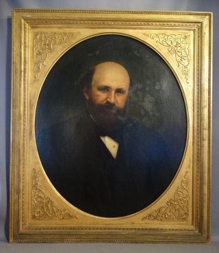 Antique 19thc Victorian Gentleman Oil Portrait Painting Carved Wood Floral Frame photo