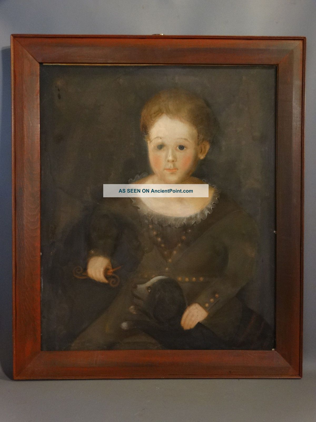 Antique 19thc Primiitive Young Girl & Dog Old Pastel Portrait Painting & Frame Primitives photo