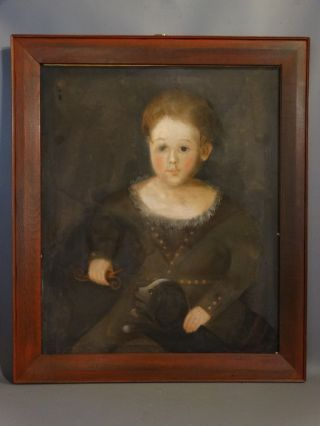 Antique 19thc Primiitive Young Girl & Dog Old Pastel Portrait Painting & Frame photo