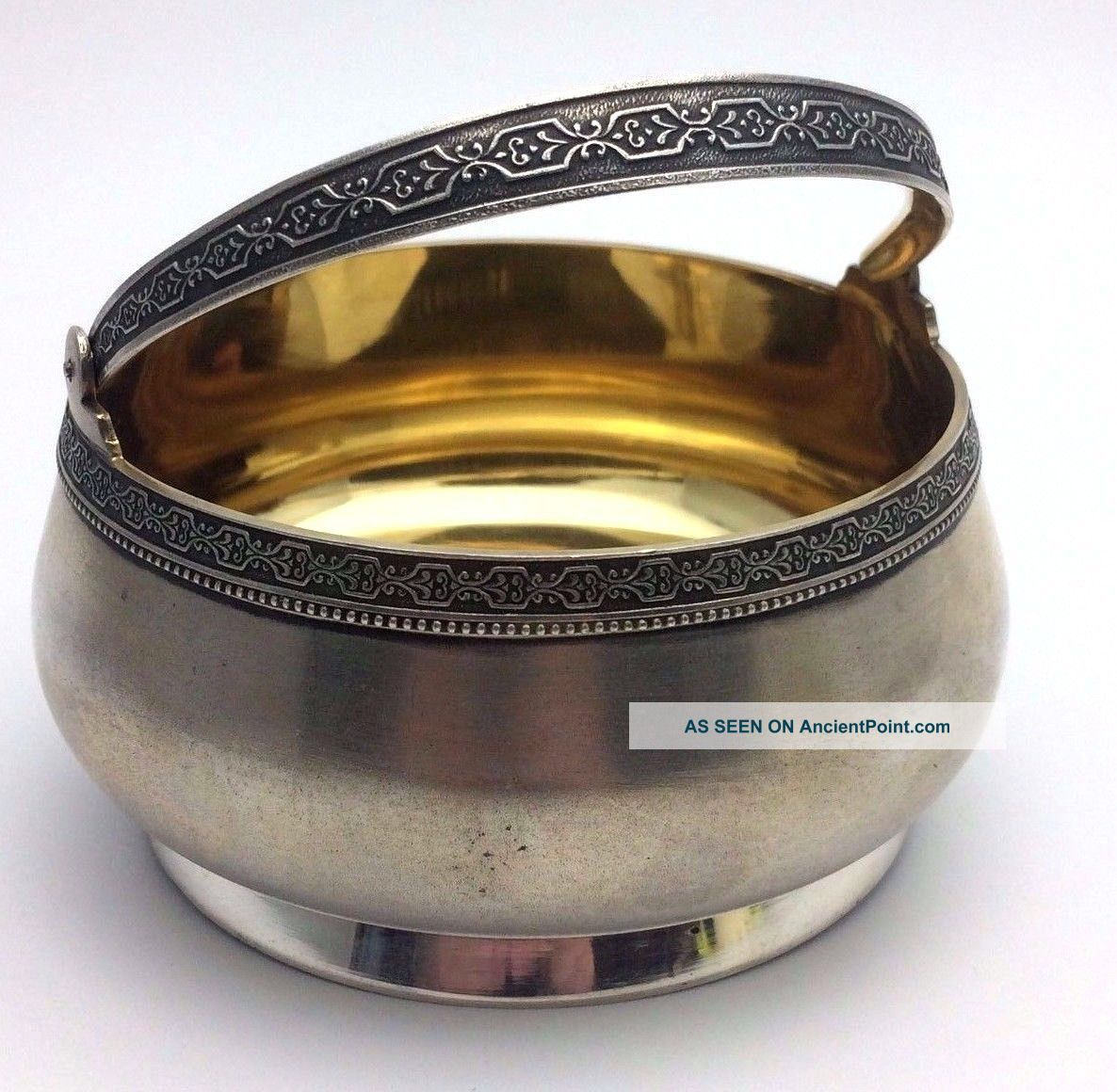 Antique Ussr 875 Silver Gilded Bowl,  199.  78 Gr.  N903 Russia photo