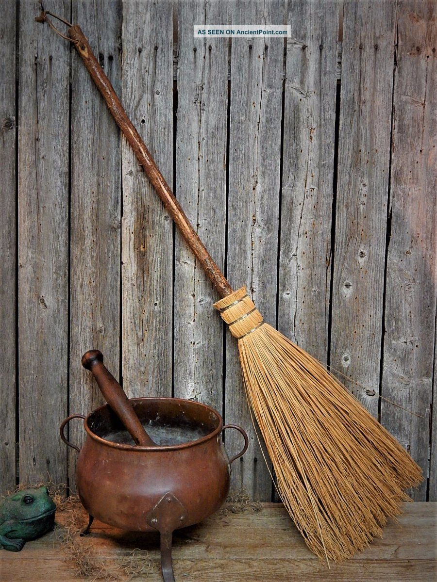 Old England Witch Hearth Broom - Primitive Wooden Tree Bark Handle Primitives photo